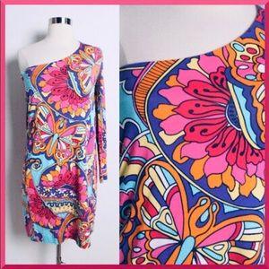 Lilly Pulitzer One Shoulder Silk Blend Dress SZ SM